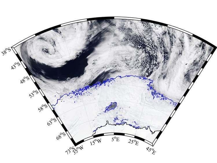 Изображение: MODIS-Aqua, NASA Worldview; комтурите на морския лед са от AMSR2 ASI - Бременски университет