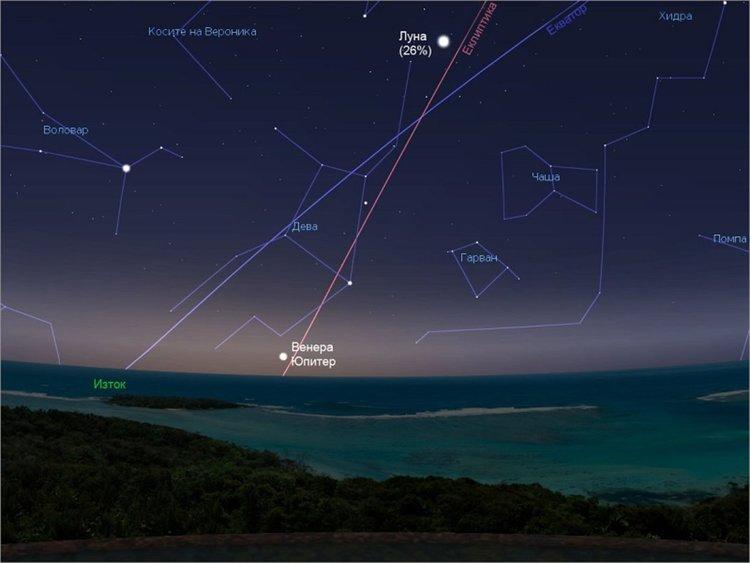"Юпитер и Венера пред ""космическа среща"""
