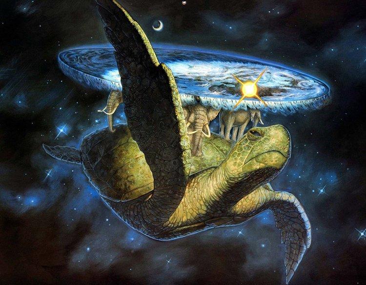 Илюстрация на Пол Кидби: Светът на Диска плува през космоса, поставен на гърбовете на четири слона, които пък стоят на гърба на гигантската костенурка А'Туин.