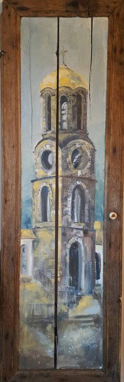 """Нарисуваната на врата камбанария на църквата """"Св.Илия"""" в Славейно"""