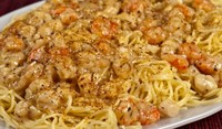Спагети с портокали и скариди