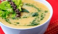 Супа от печени зеленчуци с бекон и зелено масло