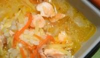 Пролетна супа със сьомга и анасон