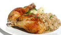 Пържени пилешки бутчета с гарнитура ориз