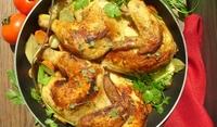 Пиле печено с яйца