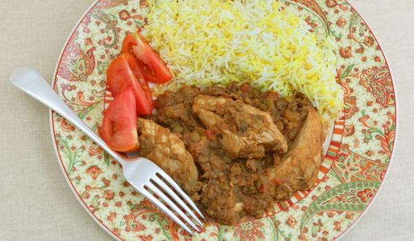Пиле със салса от леща