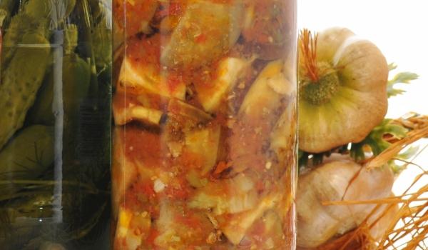 Пържени патладжани с доматен сок