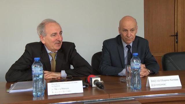 За организиране на съвместен бизнес форум през пролетта се договориха кметът на Хасково Добри Беливанов и посланикът на Украйна Микола Балтажи